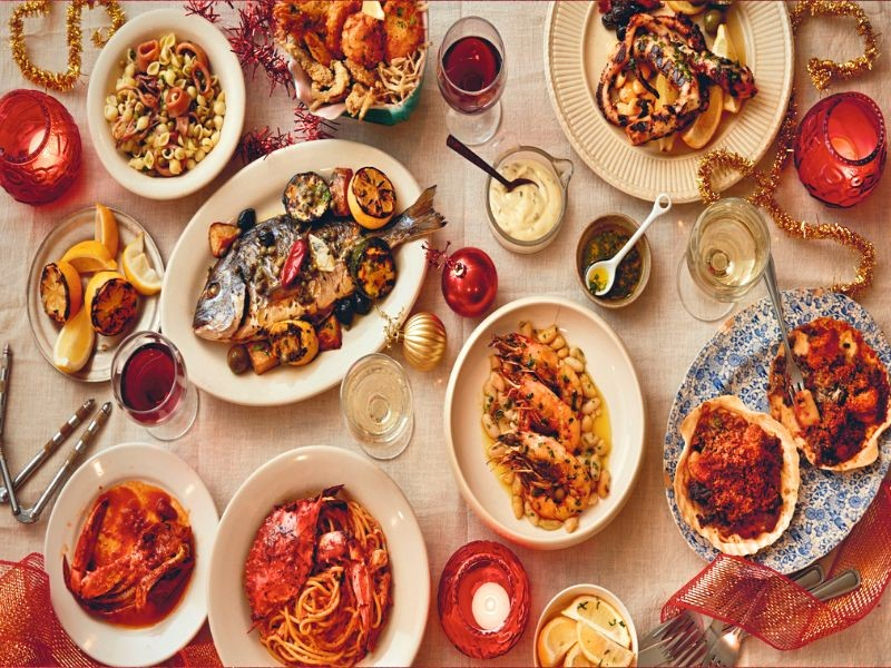 Plates of food for Feast of the Seven Fishes