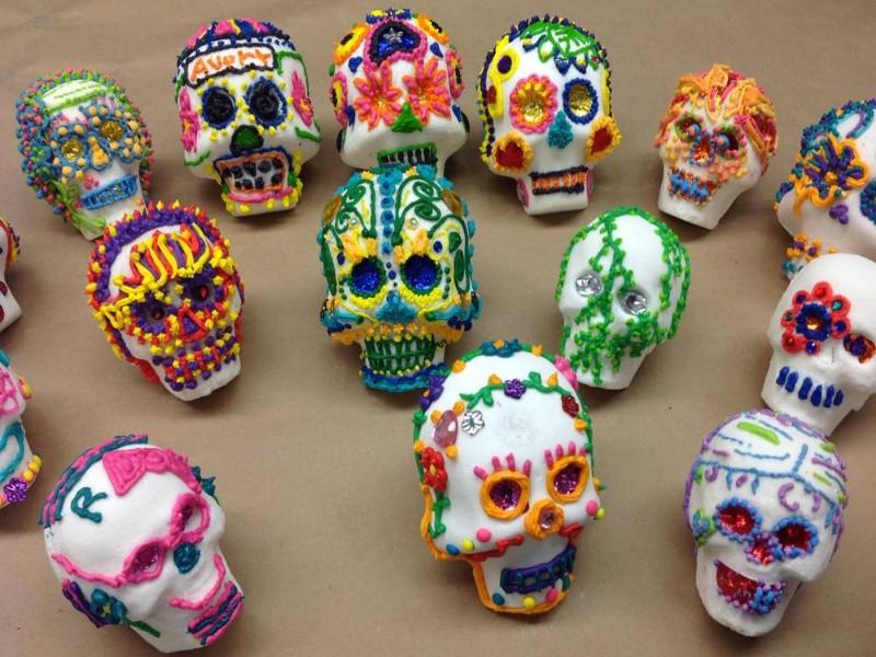 photo of decorated sugar skulls